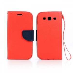 Etui Portfelik Fancy Case do Samsung Galaxy S3 - czerwono-granatowe