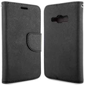 Etui Portfel FANCY Case do Samsung Galaxy J1 2016 - Czarne