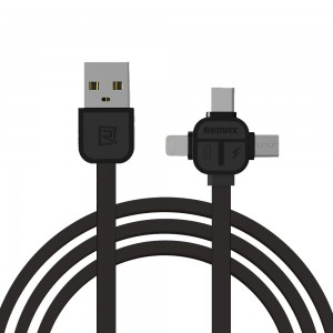 Kabel Remax RC-066TH 3w1 MicroUSB Lightning USB Typ C - Czarny