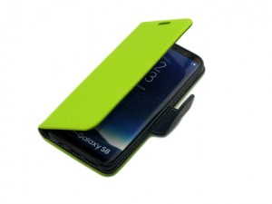 Etui Portfelik Fancy Case do Samsung Galaxy S8 - Limonkowo-Granatowe