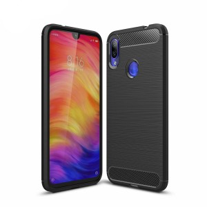 Etui Plecki Nakładka Safe Carbon Case do Xiaomi Redmi Note 7 - Czarne