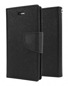 Etui Pokrowiec Portfelik FANCY Case do Samsung Galaxy J3 2016 - Czarny
