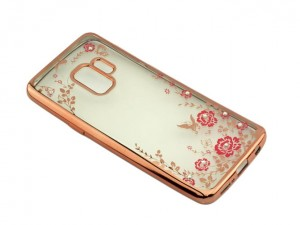 Etui Plecki Flower DIAMOND do Samsung Galaxy S9 - Złoto-różowe