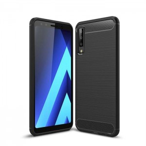Etui Plecki Nakładka Safe Carbon Case do Samsung Galaxy A7 (2018) - Czarne