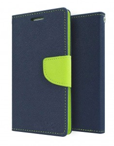 Etui Pokrowiec Fancy Safe Diary Case do Samsung Galaxy Grand Prime - Granatowo-Limonkowe