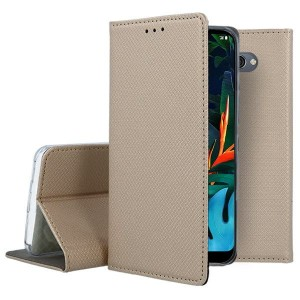 Etui Pokrowiec Smart Book Case do LG K50 / Q60 - Złoty