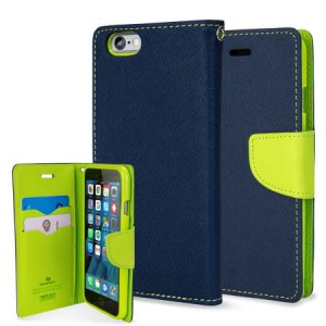 Etui Portfelik FANCY Case do Apple iPhone 7 i 8 Plus - Granatowo-Limonkowe